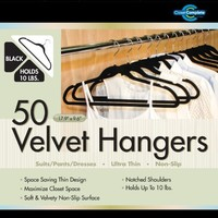 Closet Complete Ultra Thin No Slip Velvet Suit Hangers, Black, Set of 50