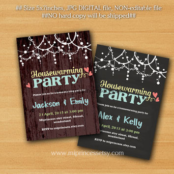 housewarming invitation, New house home sweet home Invitation , We have moved Invitation Card Design, chalkboard or rustic wood- card 263