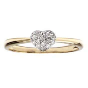 14k Yellow Gold Diamond Heart Promise Right Hand Ring (0.10 ctw): Size: 6
