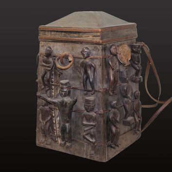 "Borneo Dayak Shaman Medicine Box 19.3"" Tall Medicine Carrier With Healing Charm Figures East Kalimantan Artifact"