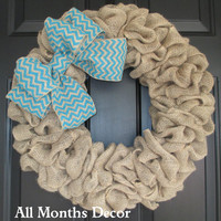 Natural Burlap Wreath with Turquoise Chevron Burlap Bow, Blue, Door Porch, Rustic Country, Spring Easter, Year Round, Fall