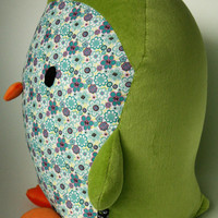 penguin, green and flowers stuffed toy