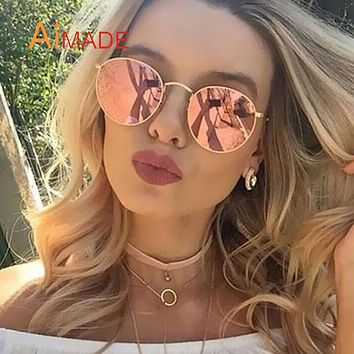 Aimade Brand Designer Vintage Small Round Sunglasses Men Women Retro Fashion Metal Frame Mirror Sun Glasses Woman Man Oculos