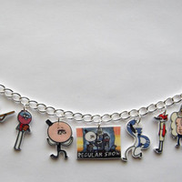 The Regular Show Charm Braclet Pops ,Mordecai, Rigby,Benson, Mitch, Skips, Hi Five Ghost