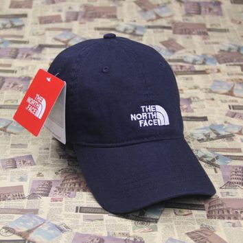 PEAPDQ7 The North Face Embroidered Navy Blue Cotton Baseball Cap Hats