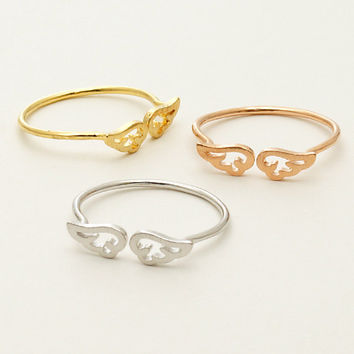 Little Angel Wings  Ring / Silver, Gold, Rose Gold / Adjustable Ring / R082