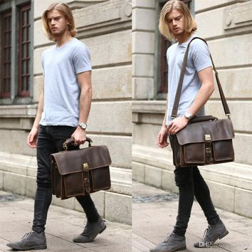 """Mens Brown Genuine Leather 16"""" Laptop Bags Briefcase Tote Business Office Case 1031 #22215"""