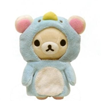"San-X Rilakkuma Shima Shima Everyday 7.5"" Plush: Little Bear in a Penguin Suit"