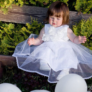 Christening Gown, Baptism Gown, Christening Dress, Linen Christening Gown