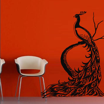 Wall decal art decor decals sticker peacock bird beauty tail feather bedroom design mural (m923)