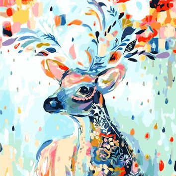 frameless pictures painting by numbers hand painted canvas cartoon drawing diy oil painting by numbers 40 50cm colorful deer