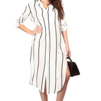 Vertical Striped Oversized Longline Blouse