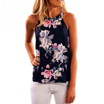 Women Casual O-Neck White Blouses Summer Ladies Sleeveless Tops Shirt Girls Bohemia Floral Printed Blouse