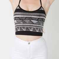 Printed Cotton Spandex Elastic Crop Tank