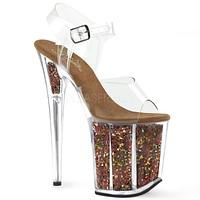 "Flamingo 808GF Brown Hologram Glitter Platform Sandal Shoe  8"" High Heels"