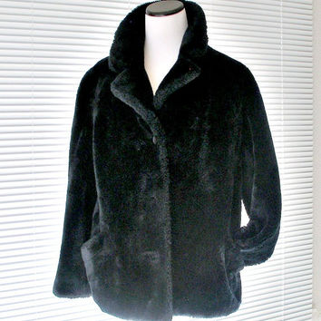1950s Black Faux Fur Jacket Vintage Womens Faux Fur Coat Borgana Sportowne