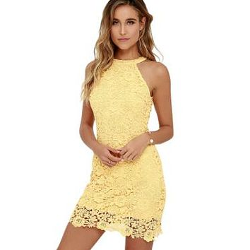 Halter top sleeveless lace dress    Sizes:  S - 2XL