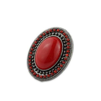European and American jewelry red gemstone ring female black alloy ring full diamond accessories promotional trade jewelry specials HK