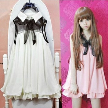 Women summer sweet dress doll ruffles chiffon sleeveless solid dress Japanese cute lolita white,pink one piece dress Kawaii OP