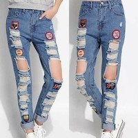 denim trousers female pants Korean labeling dark jeans casual pants beggar dresses
