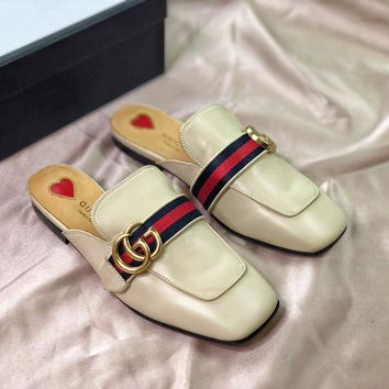 Gucci Double G Square Toe White Leather Slipper Sandals - Best Online Sale