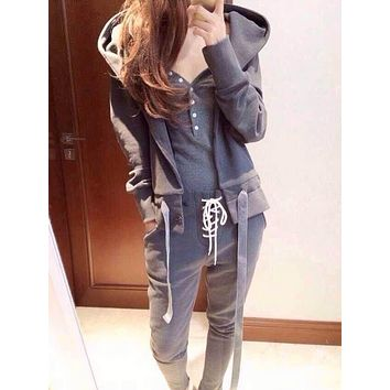 Women Sport Casual Solid Color Vest Long Sleeve Cardigan Hooded Sweater Trousers Set Three-Piece Sportswear