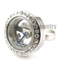 Free shipping! new arrivals steel locket ring stainless steel living locket wedding rings floating locket ring