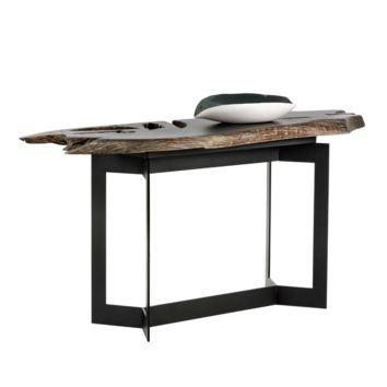 WITT BLACK STEEL FRAME WITH SOLID TEAK ROOT WOOD PAINTED BLACK TOP CONSOLE TABLE