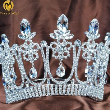 """Floral Flower 5.3"""" Contoured Tiara Diadem Beauty Pageant Crown Wedding Bridal Clear Crystal Headband Party Costumes"""