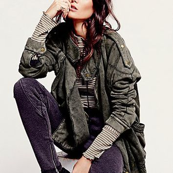 Womens We The Free Oversized Fleece Moto Jacket