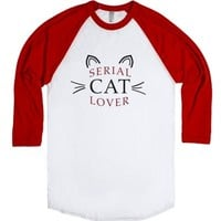 serial cat lover-Unisex White/Red T-Shirt