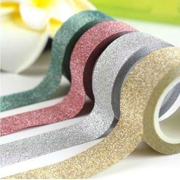 NOVERTY 1 pcs 5m Kawaii Glitter Matte Tape Book Decor Washi Tape Scrapbooking Card Adhesive Paper Sticker DIY Craft Gift 02447