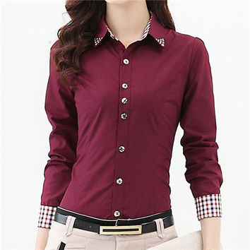 2017 New Shirt Women Tops 5XL 6XL Plus Size Plaid Button Down Long Sleeve Formal Tunic Casual Blouse Top Blusas Feminina #B48