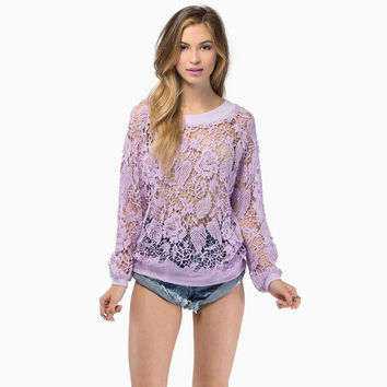Embroidery Lace Crochet Round-neck Long Sleeve See Through Hoodies [6407756228]