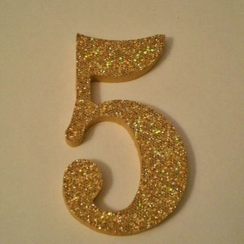 GOLD GLITTER NUMBERS - Sparkling Antique Gold Glitter Wall Numbers - 5 inch