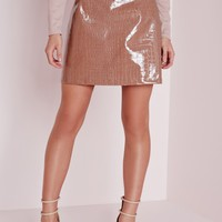 Missguided - Croc Faux Leather A-Line Skirt Rose Pink