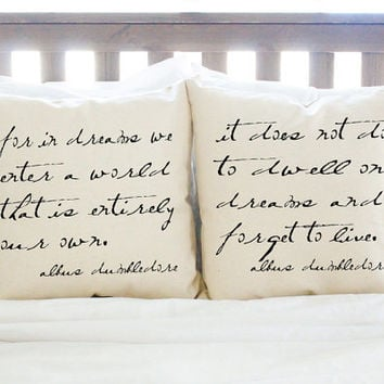 "Harry Potter ""Dreams"" Dumbledore Quote Pillow Set - 2 Pillows"