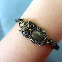 Adjustable owl wrist bracelet leather bracelet women bracelet made of ancient bronze owl black leather bracelet cuff SH-1163