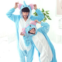 Fashion Adult Cartoon animal elephant pajama couples homwear sleepwaer Nightgown robe  thick Flannel Onesuits Pajama  plus-size