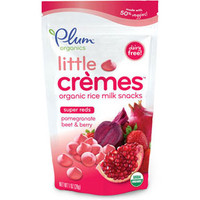 Plum Organics Little Crèmes Super Reds - Pomegranate, Beet & Berry | Little Crèmes, a line of colorful, bite-sized rice milk snacks made of real fruit & veggie blends, are perfect for tactile development and the introduction of new tastes and textures. A n