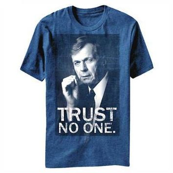 X-Files Trust No One The Smoking Man Licensed Adult T-Shirt - Blue
