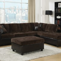 2 pc Mallory collection 2 tone chocolate padded textured fabric and leather like vinyl upholstered sectional sofa with reversible chaise