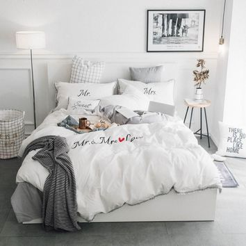 White Grey Pink 100%Cotton Embroidery Bedding Set Twin Queen King size Duvet Cover Bed/Fit sheet set Pillowcase Soft Bedclothes