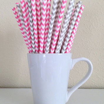 25 Pink and Gray / Grey and White Chevron Paper Party Straws and DIY Printable Drink Flags / Wedding / Birthday / Baby Shower