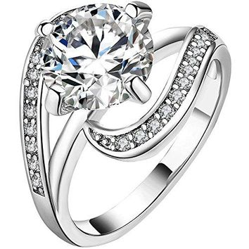 LWLH Womens 18K White Gold Round 3ct Cubic Zirconia Infinity Knot Halo Engagement Wedding Ring