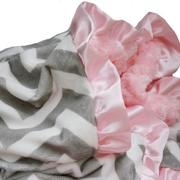 Minky Chevron Powder Pink Baby Blanket with Satin Ruffle Trim