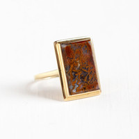 Vintage 14k Yellow Gold Agate Ring - Size 8 3/4 Art Deco Orange Red White Large Gem Rectangular Fine Statement Jewelry