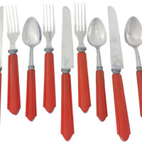 Red Bakelite Flatware, Art Deco Utensils, Vintage Kitchen, Stainless Steel, Silverware, Knive, Fork, Spoon, Set of 9, 3 Place Settings