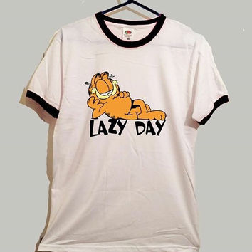 Garfield lazy day ringer tshirt cute funny cartoon cat