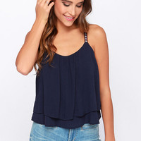 Up and Away Navy Blue Crop Top